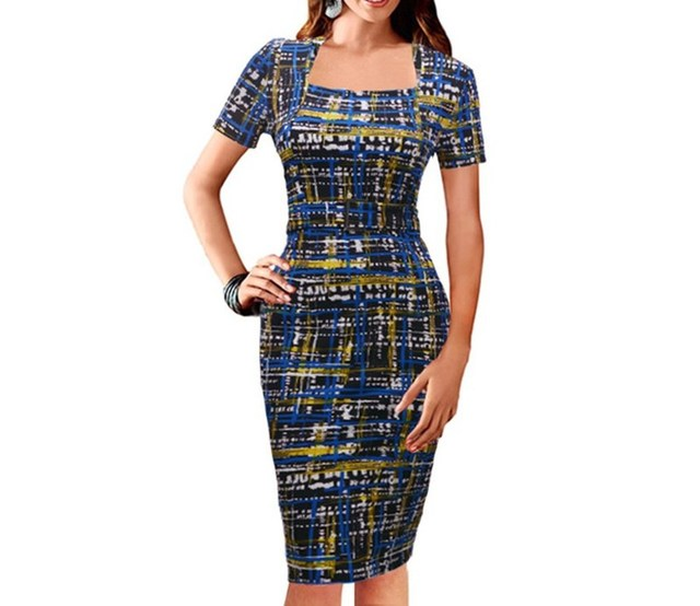 Women Short Sleeve Lady Plaid Print Pencil Dress Party Dresses Elegant Dinner Dress 6