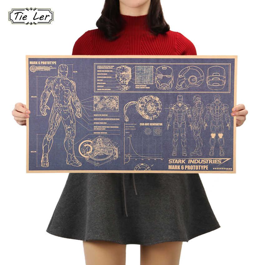 TIE LER 할리우드 영화 포스터 장식품 그림 철 남자 디자인 도면 향수 레트로 크래프트 종이 벽 스티커 51x29cm