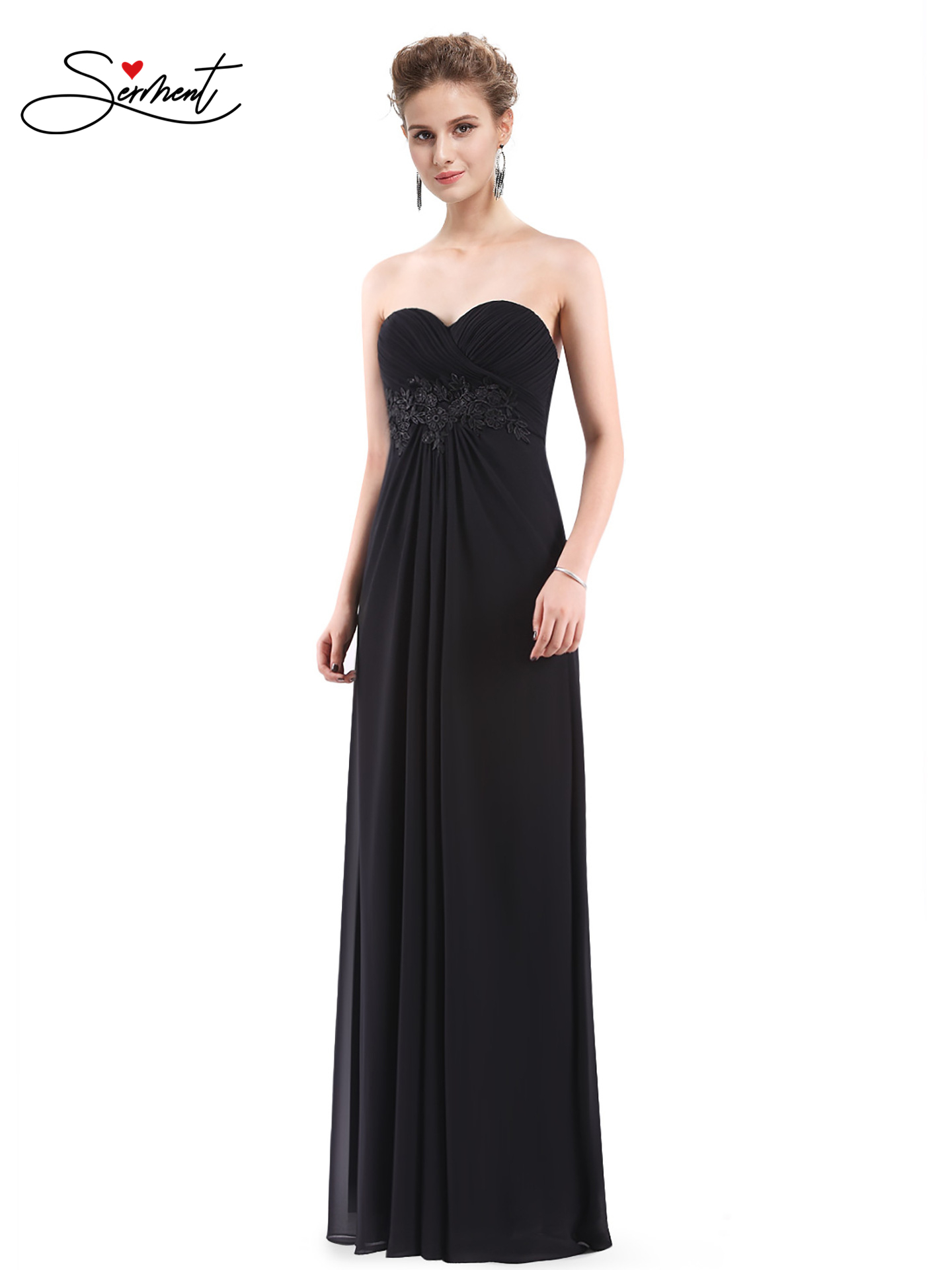 OLLYMURS New Elegant Woman Evening Gown Chiffon Tube Top Solid Color Slim Elegant Evening Dress Suitable For Formal Parties