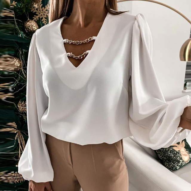 Elegant V Neck Metal Chain Lady Tops Fashion Solid Color Long Sleeve Woman Shirts Autumn Loose Casual Office Work Female Blouses 3
