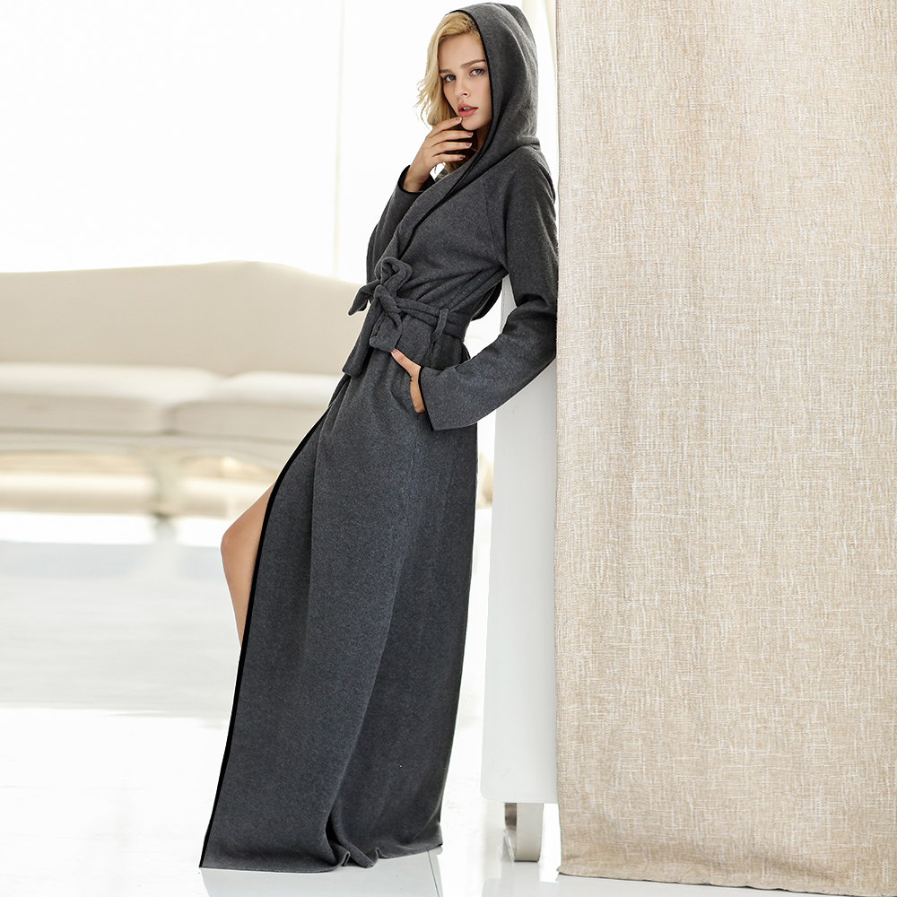 Women and Men Microfiber Fleece Ultra Long Floor Length Hooded Bathrobe Robes Sleepwear Plus Size Nightgown Dressing Gown Lounge