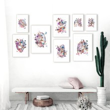 Human Medical Anatomy Vintage Posters and Prints Heart Lungs Brain Watercolor Art Canvas Painting Doctor Gifts Clinic Wall Decor(China)