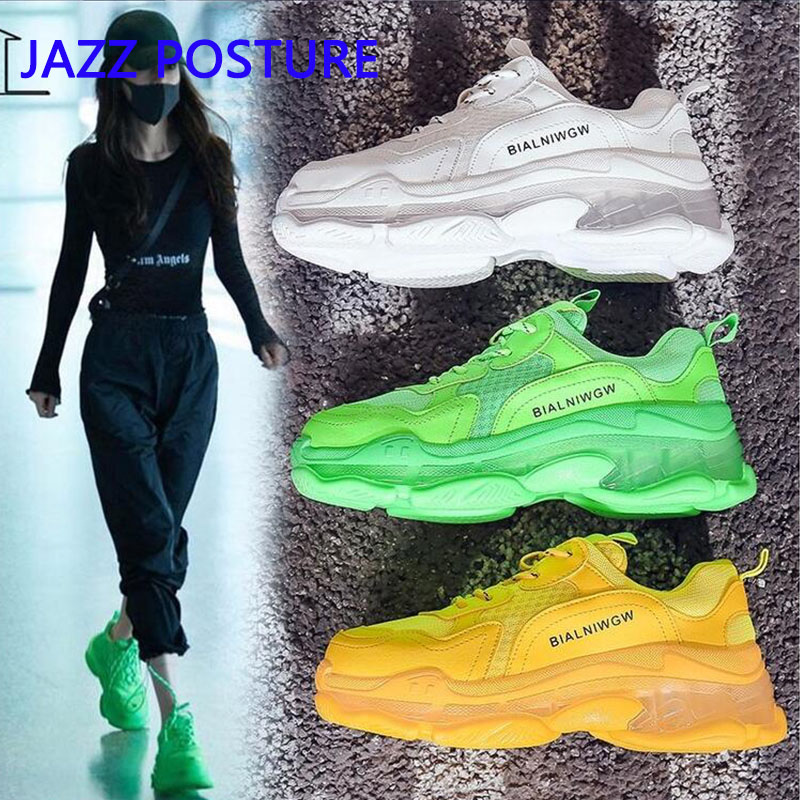 Women's Transparent Soles Yellow Shoes Ladies Dad Transparent Soles White Sneakers Fashion Neon Green Sneakers Y954