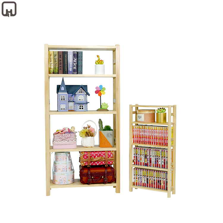 1/6and1/12   Scale Miniature Dollhouse Wooden Shelf Mini Dolls Bookshelf Handmade Cute Simple Style Furniture