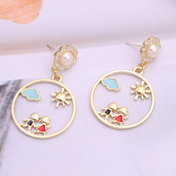 New Style Earrings Two Childlike Hollow Sweet and Cute Earrings Female Korean Version of Fresh and Simple Wild Earrings Trend image