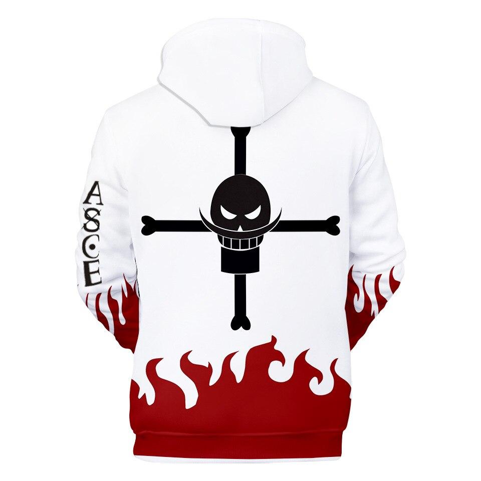 Newest ONE PIECE Whitebeard Pirates Hoodies Portgas D Ace Streetwear Printed Men/women Anime Cartoon Winter Jacket Sweatshirt