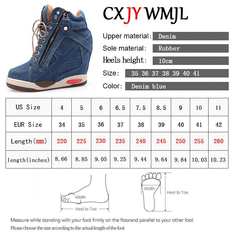 Big Size Women Denim Wedges Sneakers Autumn Platform Casual Shoes Fashion Woman Side Zipper Vulcanized Shoe Thick Bottom Sneaker 6