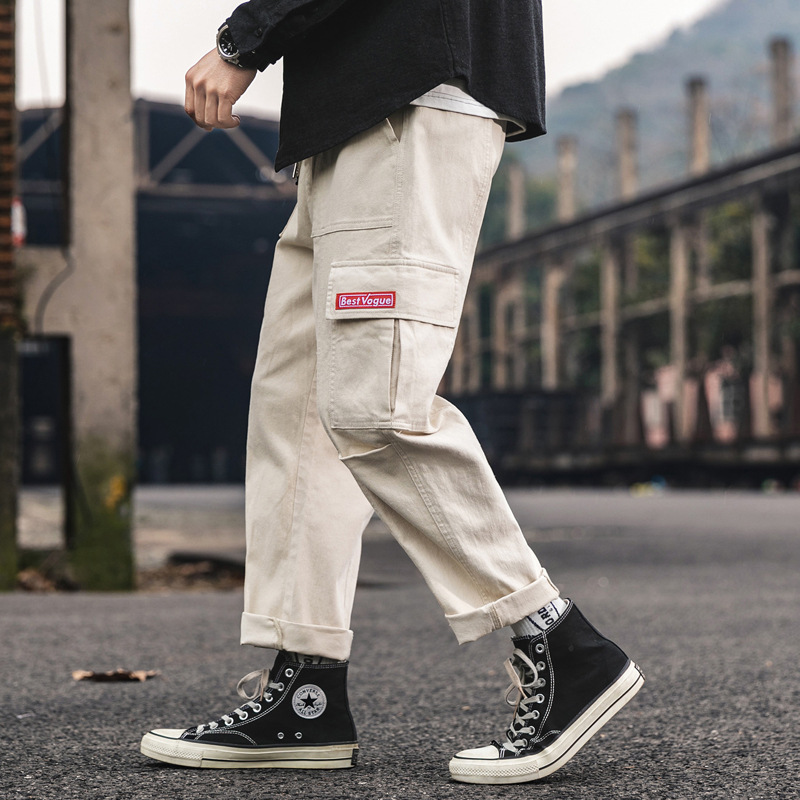 2019 Spring And Summer New Style Pants Men's Popular Brand BF Hong Kong Style Loose Straight Casual Pants Men Japanese-style Har