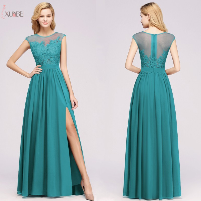 Long Green Chiffon Bridesmaid Dresses 2020 Elegant Wedding Party Guest Gown Lace Applique Sleeveless robe demoiselle d'honneur