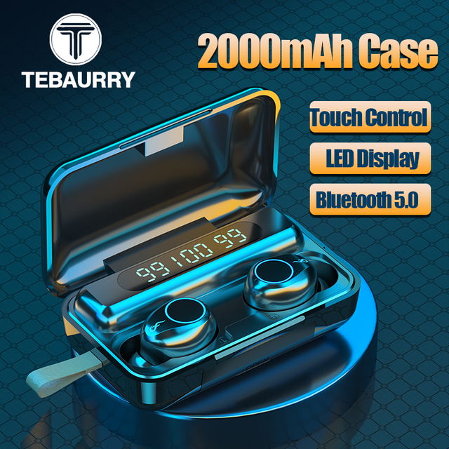 TWS Wireless Bluetooth 5.0 Earphone 9D HiFi Stereo Sport Waterproof Wireless Headphones Touch Mini Earbuds Headset with 2000mAh
