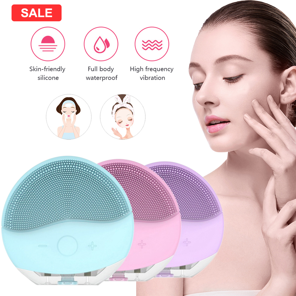 Face Cleansing Brush Mini USB Electric Face Facial Cleansing Brush Foreoing Silicone Cleaner Waterproof Skin Massager