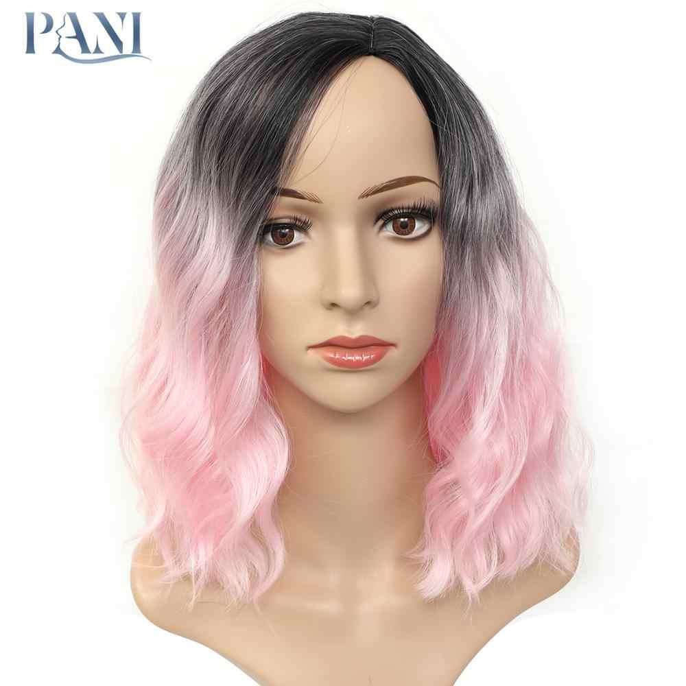 PANI pelucas sintéticas ondulado corto Natural para mujeres Bob fibra resistente al calor Cosplay Pink Puple 10 colores a elegir