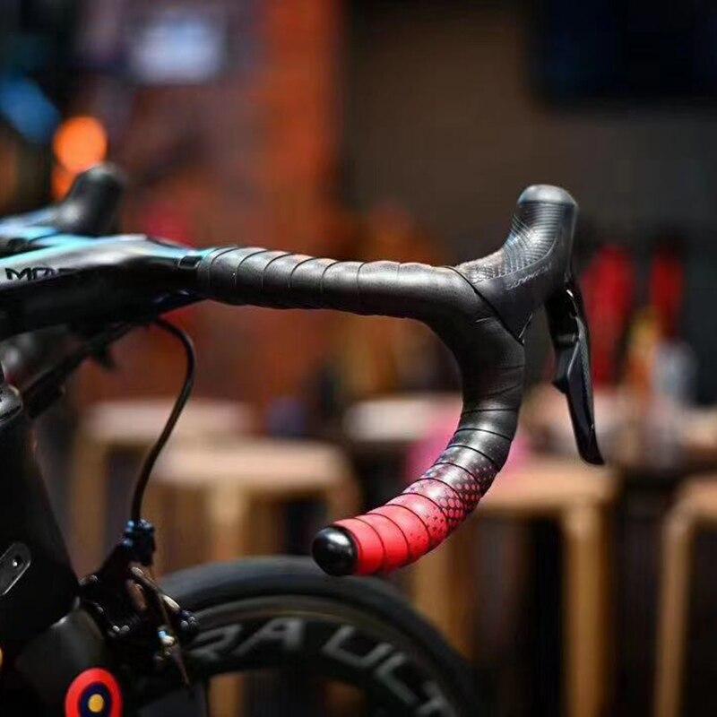 Ciclovation Avanzata Strada Manubrio Della Bicicletta Nastro con Tocco di Cuoio Serie di Fusione Bici da Corsa Nastro Svanisce di Colore Intelligente Gel & Bar end
