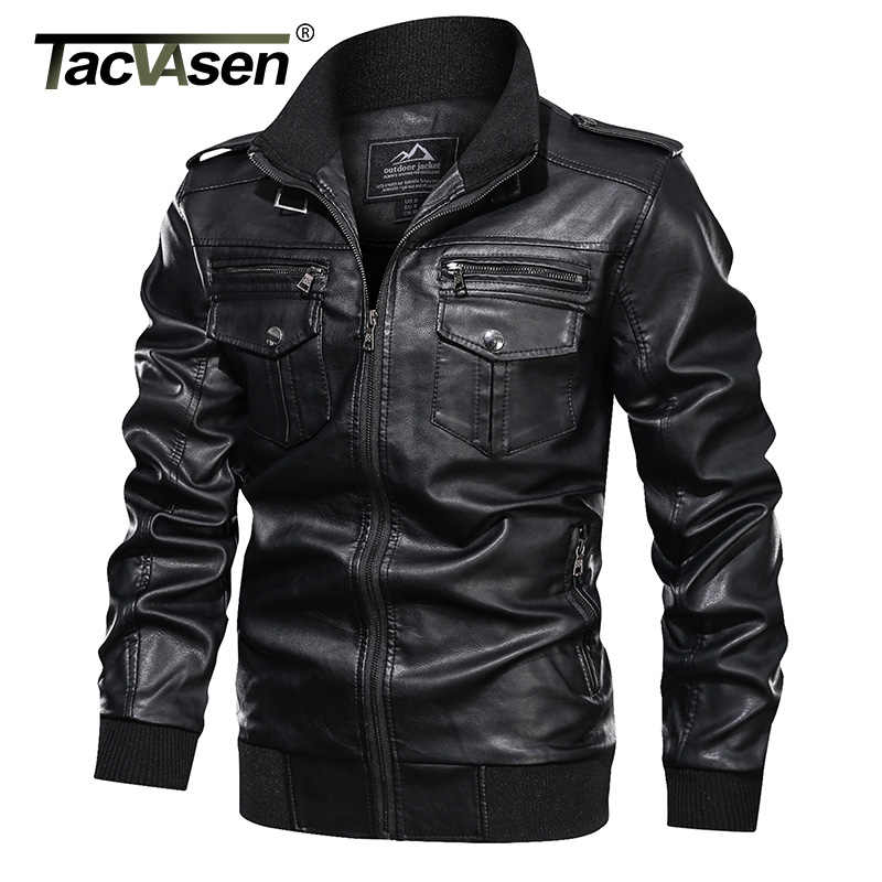 Tacvasen Leren Jas Mannen Vintage Mode Multi-Pocket Pu Leather Jacket Coat Herfst Casual Biker Motorfiets Faux Leren Jas