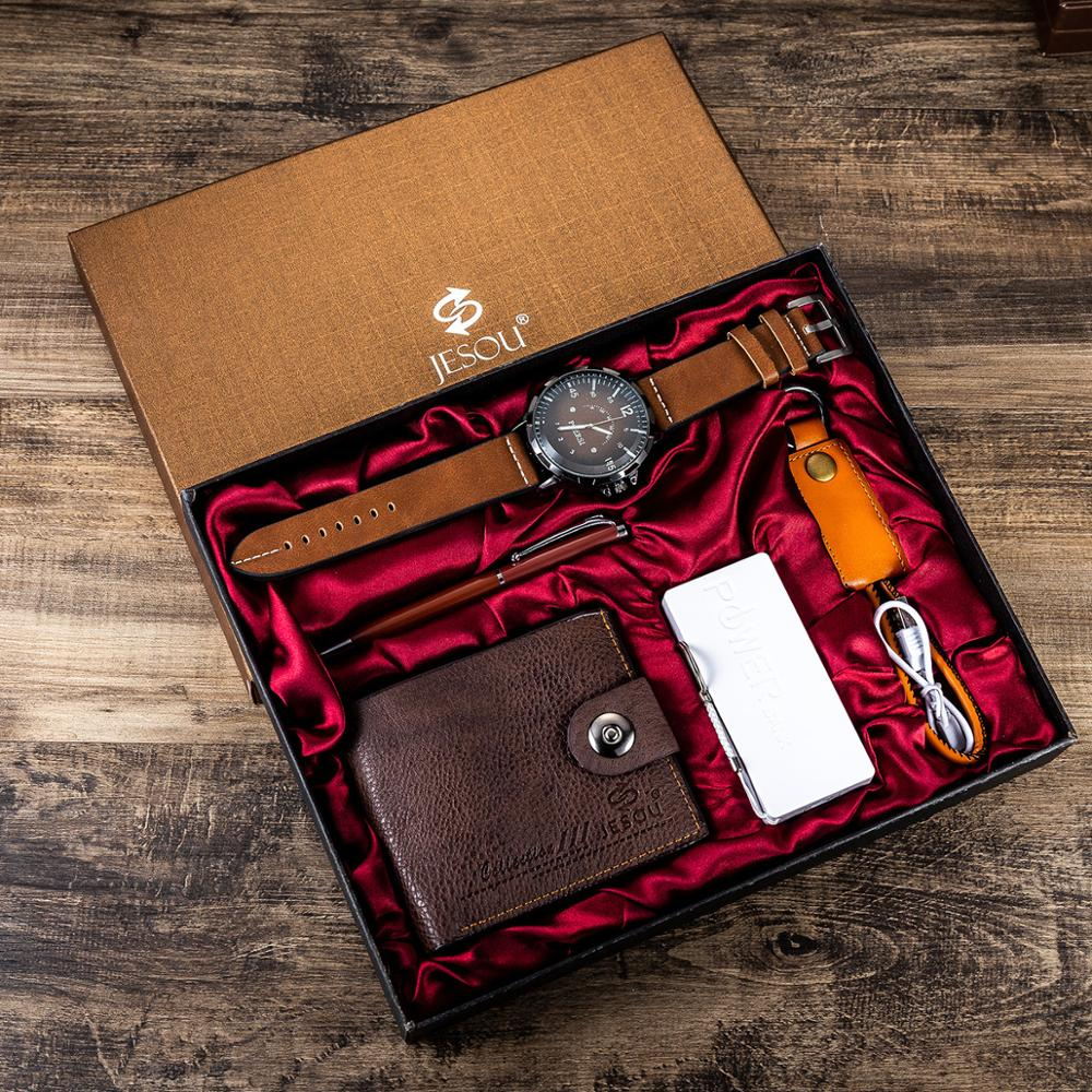 6pcs/set Men's Gift Set Beautifully Packed Watch+Wallet Pen Cable Creative Combination Set Watch
