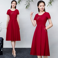 2019 new fashion women's dresses Summer vintage ethnic embroidery cotton and linen long slim short sleeved dress