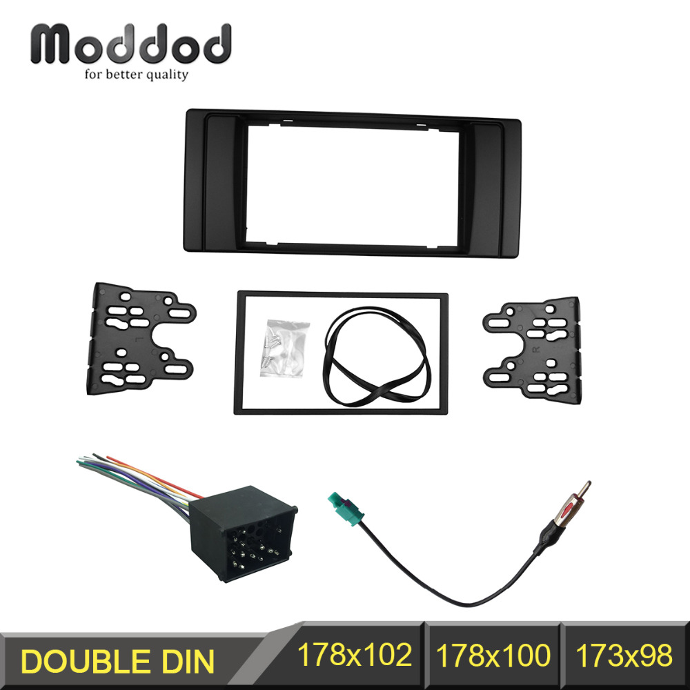 <font><b>Double</b></font> <font><b>Din</b></font> Fascia for <font><b>BMW</b></font> series 5 E53 <font><b>E39</b></font> Stereo Panel Radio DVD Frame With Wiring Harness Antenna Aerial Trim Kit image