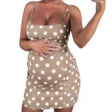 Fashion Women's maternity dresses Polyester O-neck Sexy Polka Dot Maternity Pregnant Sleeveless Nursing Boho Mini Dress H4