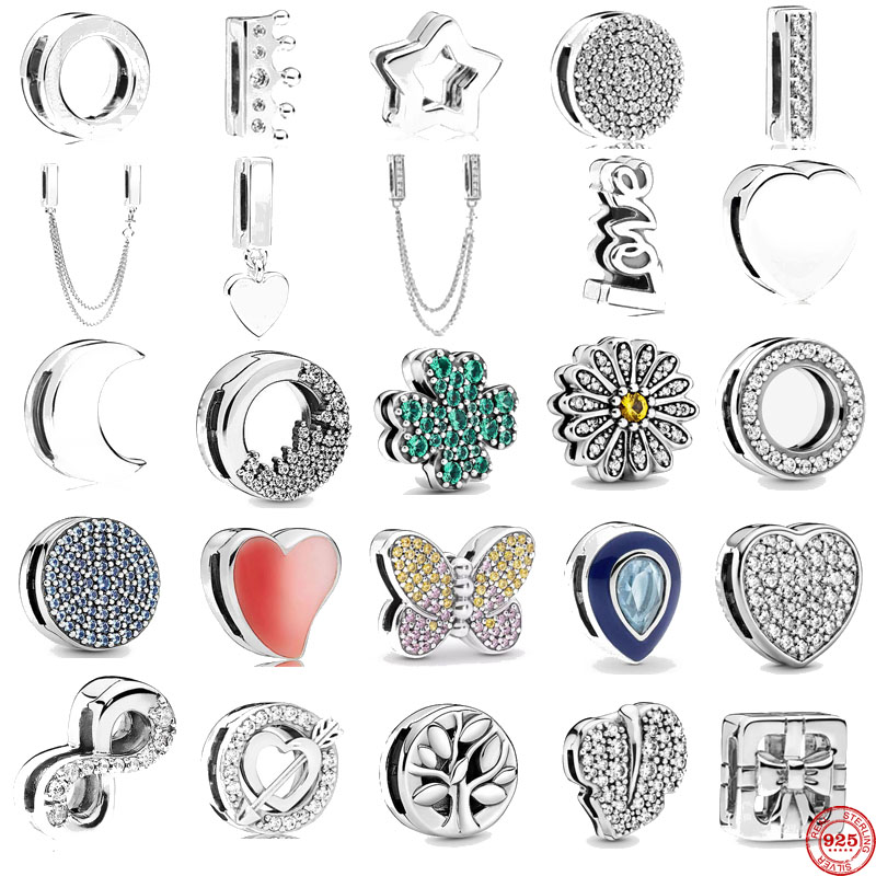 Bracelet Clip Beads Charms Moon-Beads Crystal-Crown-Heart Round Silver Reflections S925