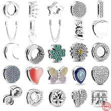 S925 prata reflexões clipe contas encantos coroa de cristal redonda coração lua trevo contas lua caber original pandora pulseira feminina