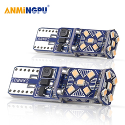 ANMINGPU 2X T10 Led Bulbs 15 2016Chips W5W Led Lamp Interior Wedge Lights License Plate Light Dome Lamp 12V White Yellow Red