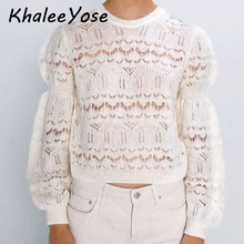 KHALEE YOSE White OPEN KNIT Long Sleeves Pullovers Sweater Hollow Out Knit Autumn Sweater Casual Chic Sweaters Jumper Women 2019 army green lace up knit long raglan sleeves sweater
