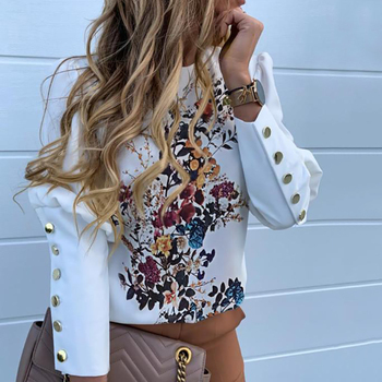 цена на Women Printed Metal Button Detail Blouse Autumn Office Lady Casual Round  Neck Solid Long Sleeve Shirt Elegant Tops Pullover D30