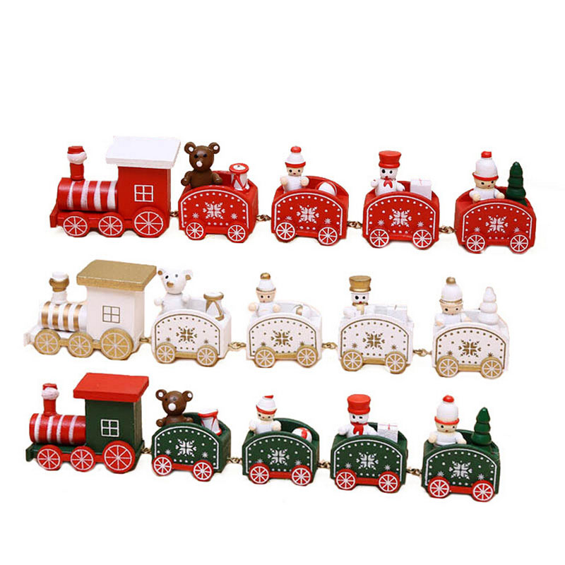 Funny Christmas Decorations Small Train Cartoon ChildrenS Gifts Wooden Window Kids Toys