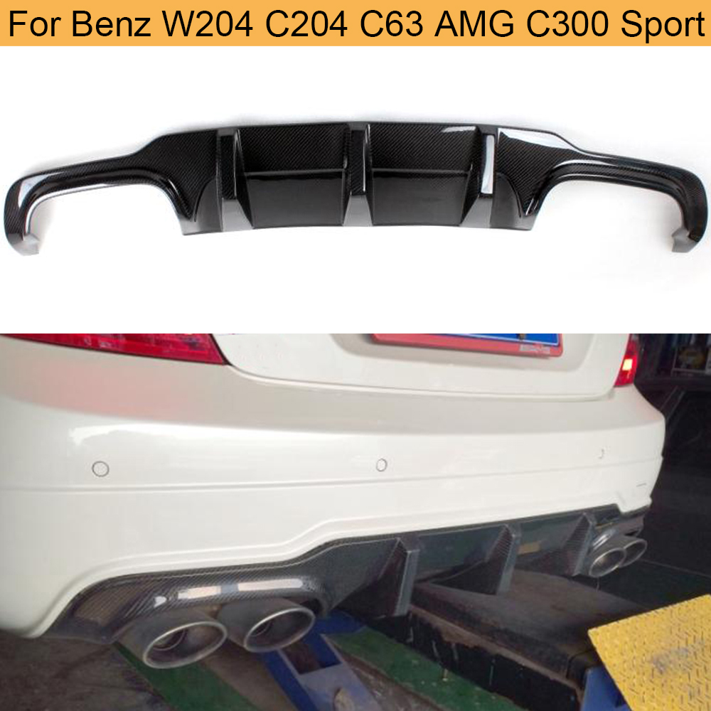 C Class Carbon Fiber Car Rear Bumper Diffuser Lip for <font><b>Mercedes</b></font> Benz W204 C204 C63 AMG <font><b>C300</b></font> Sport <font><b>2012</b></font> 2013 2014 Rear Diffuser image