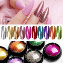 1Box Nagel Spiegel Glitter Pulver Metallic Nagel Staub Pulver Metall Wirkung Glitter Rose Gold Silber Nail art Design Chrom pulver(China)