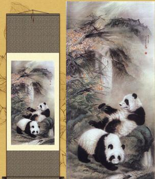1pc  Traditional silk art Home Decoration Chinese Silk scroll painting  A pair panda Office Decoration S144 1