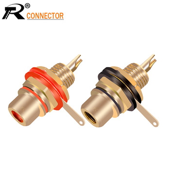 1pair Gold plated RCA Jack Connector Panel Mount Chassis Audio Socket Plug Bulkhead with NUT Solder CUP Wholesale 2pcs - discount item  42% OFF Electrical Equipment & Supplies