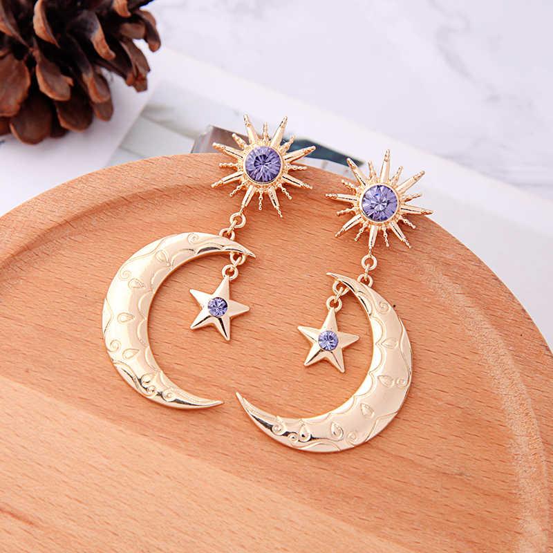 โบฮีเมีย Handmade คริสตัล Moon Star Drop ต่างหูสำหรับผู้หญิงเครื่องประดับขายส่งจัดส่งฟรี