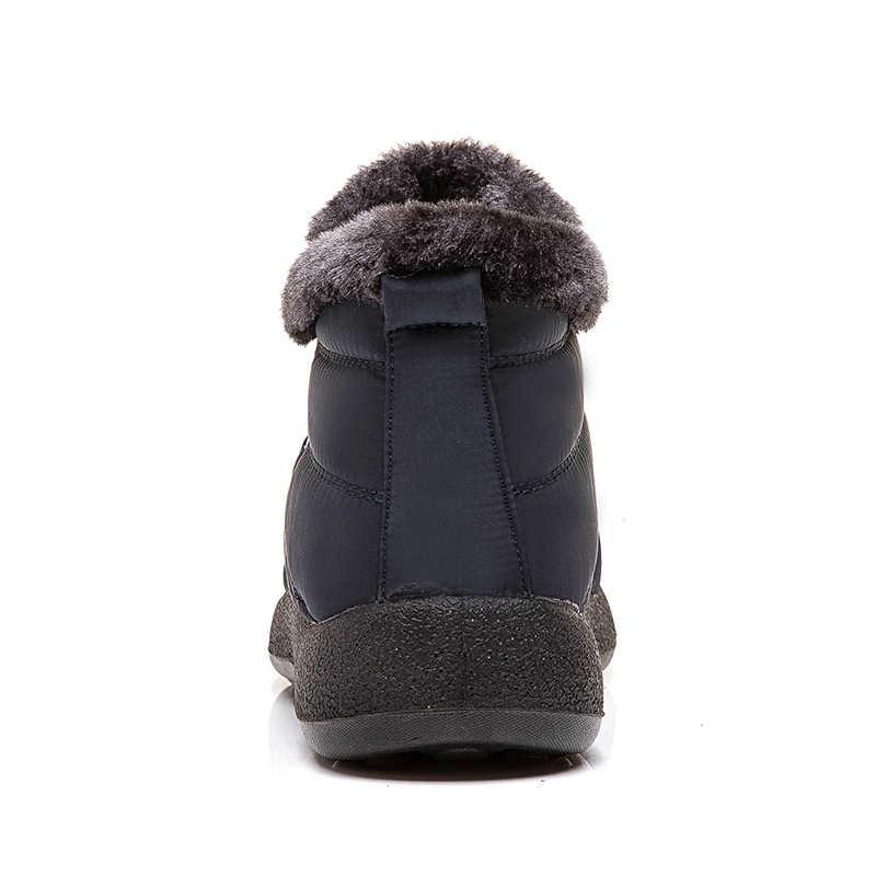 Kadın botları moda su geçirmez kar botları 2019 kış ayakkabı kadın sıcak tutmak ayak bileği Botas Mujer artı boyutu 43 kış ayakkabı