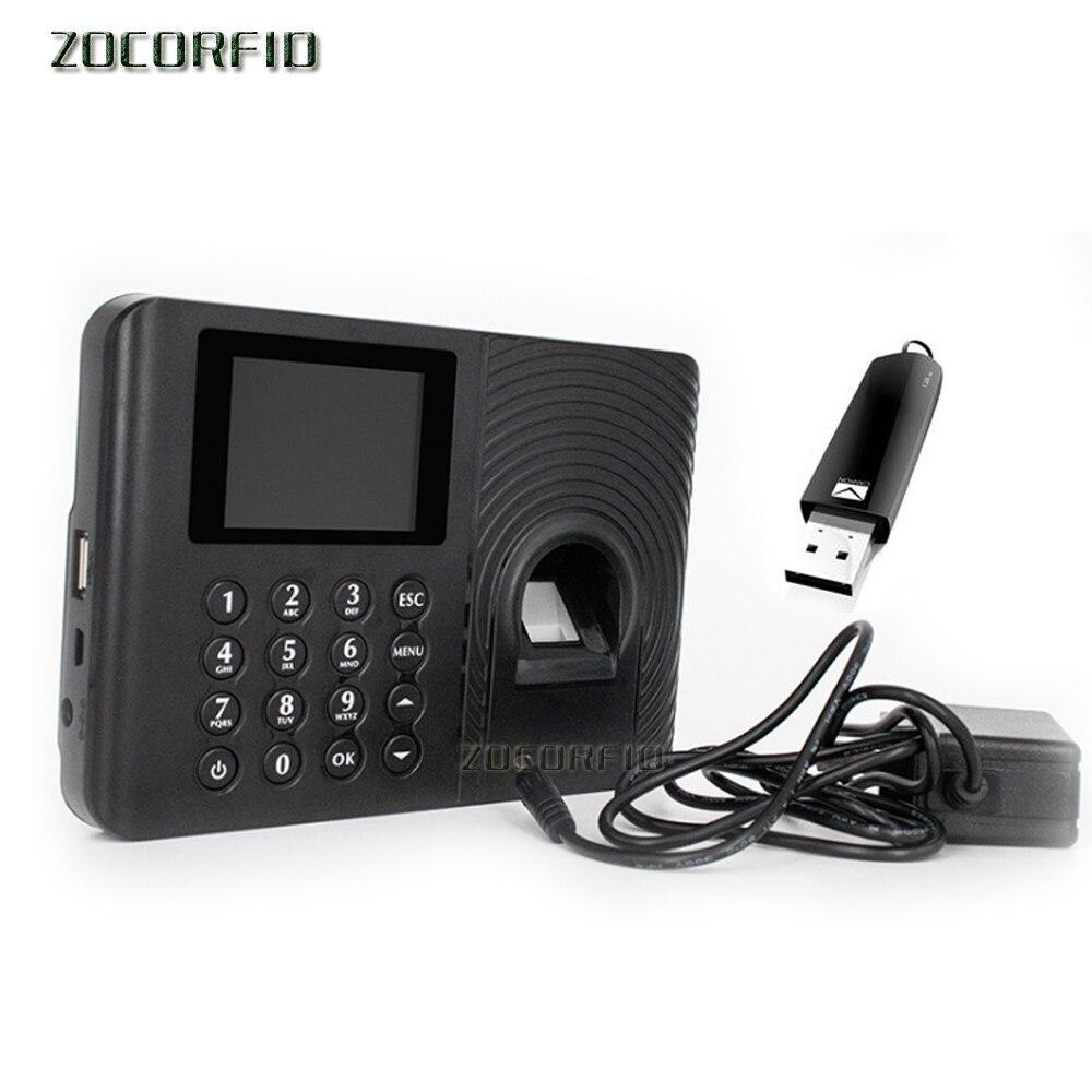 Free U-disk Biometric Fingerprint Time Attendance System Clock Recorder Employee Electronic More Language