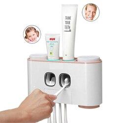 Titular escova Creme Dental Automático Dispensador de Creme Dental Squeezers Lavagem Definir Copo Montado Na Parede Do Banheiro Acessórios de Banho Kit