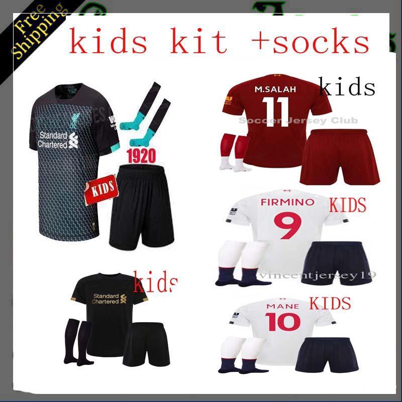 Selling 2020 Liverpooles Kids Kit Socks Soccer Jerseys 19 20 Home Away 3rd GK M.SALAH MANE VIRGIL Football Shirt Free Shipping