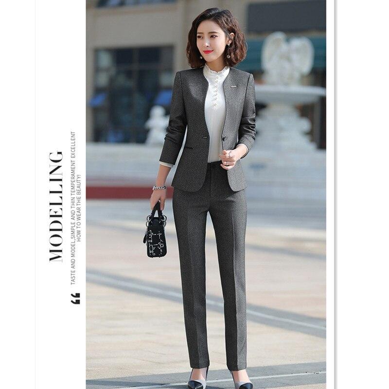 Woman's Grey Suit Professional Suit Female 3 Piece Jacket Shirt Trousers Office Jewellery Shop Overalls Suits Lady Suit ow0527