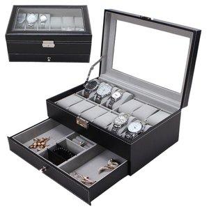 Nowe 12 siatek sloty podwójna warstwa PU skórzane pudełko na zegarki profesjonalny zegarek Case Rings organizer na bransoletki uchwyt skrzynki