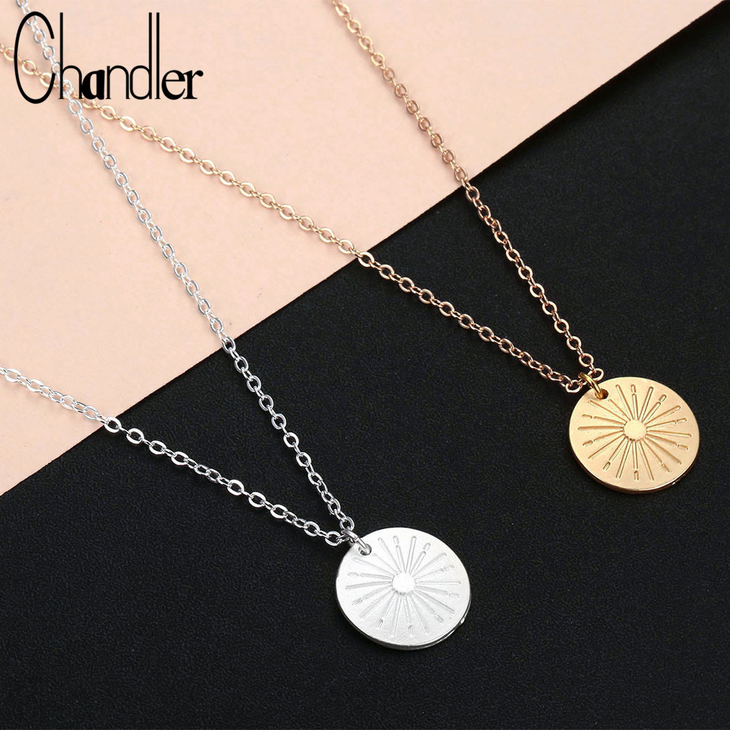 Chandler Personality Sun Necklace Geometry Disco Neck Collar Stainless Steel Minimalist Bling Solar Colier Wholesale