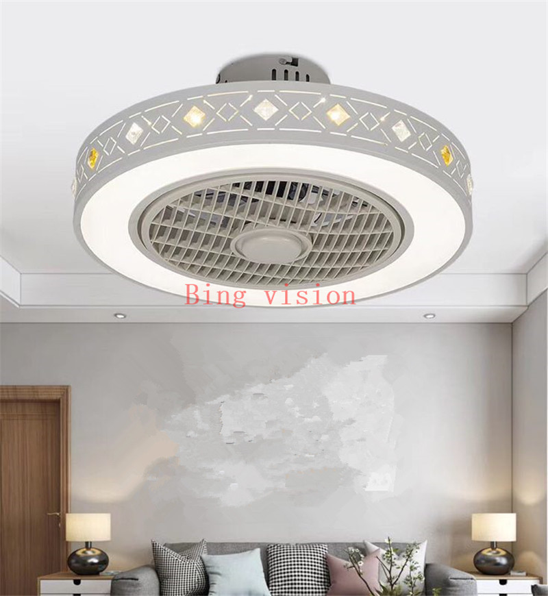 Modern minimalist white painted iron ceiling fan light crystal decorative acrylic LED lighting dimmable bedroom fan lamp AC220