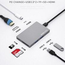 Thunderbolt 3 Dock USB Type C-MacBook Pro 용 HDMI 허브 어댑터 Air TF SD Carder Reader OTG 어댑터 독 유형 C 허브