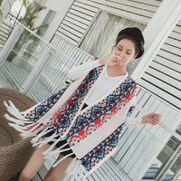 Bohemian winter warm shawl scarf dual use female spring and autumn thick long sweater cloak coat