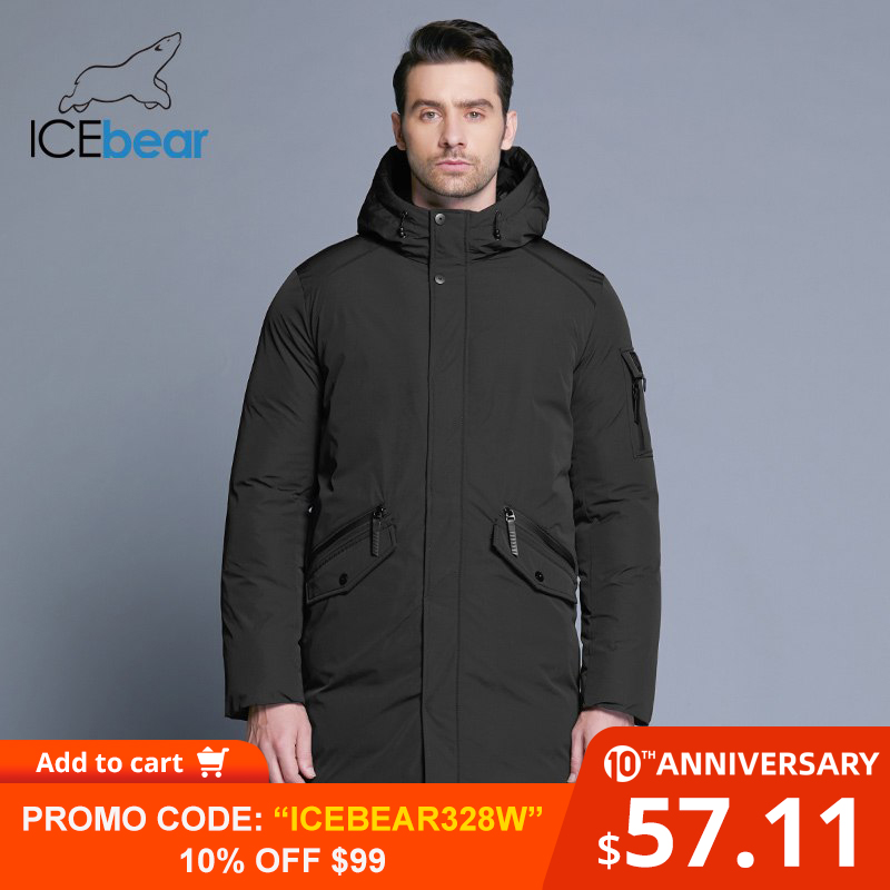 ICEbear 2019 New High Quality Winter Coat Simple Fashion Coat Big Pocket Design Men's Warm Hooded Brand Fashion Parkas MWD18718D