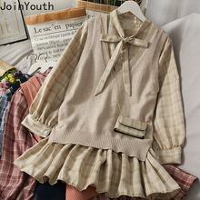 Vest Two-Piece-Set Korean Sweater Sweet-Suit Knitted Plaid Women Fall Joinyouth Female