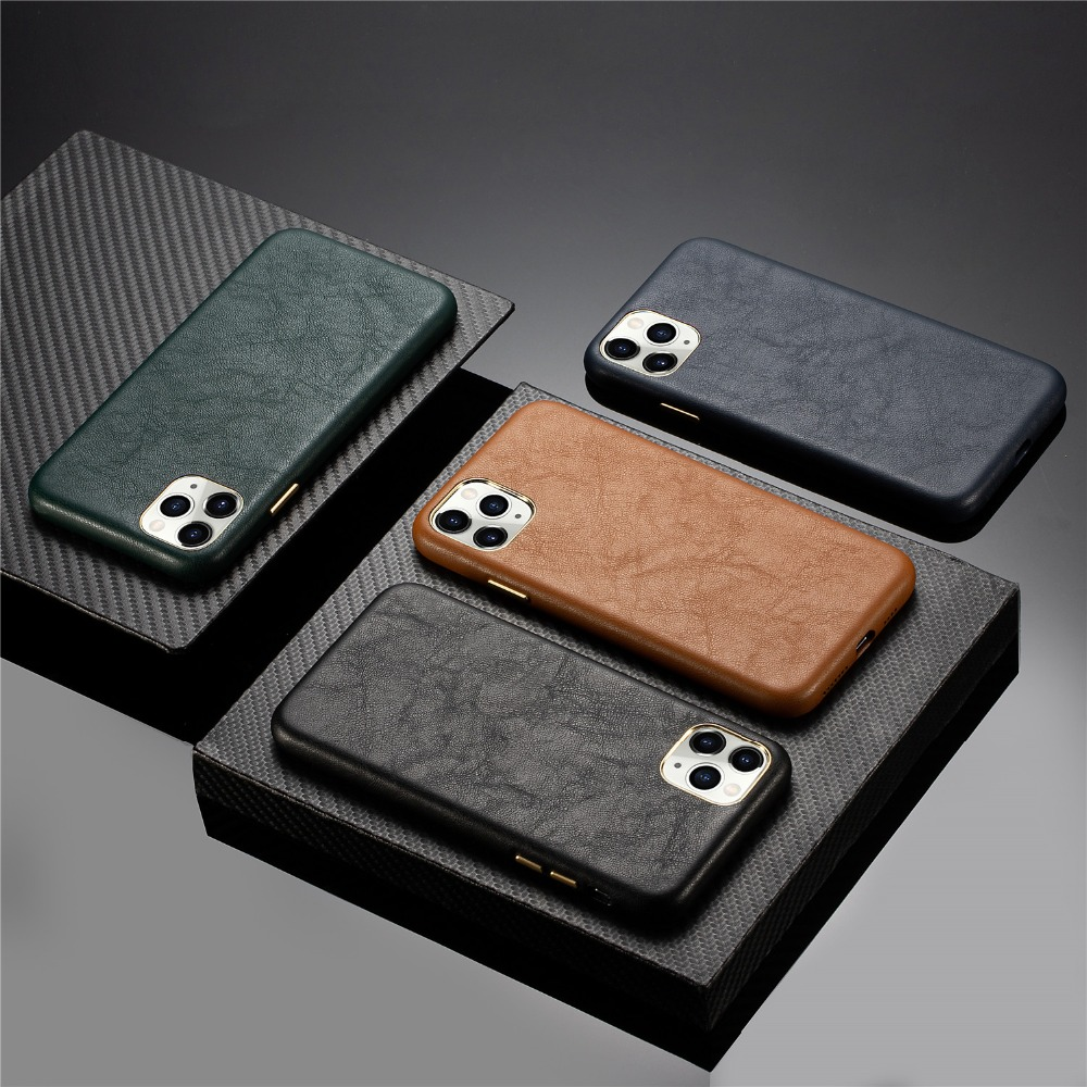 Luxury Real Leather Metal Button Back Cover Midnight Green Phone Case For iPhone 11 Pro Max