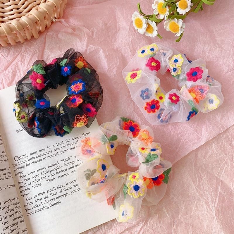 New Summer Cute Print Flower Chiffon Elastic Hair Bands Women Girls Headband Scrunchie Rubber Bands Fashion Hair Accessories
