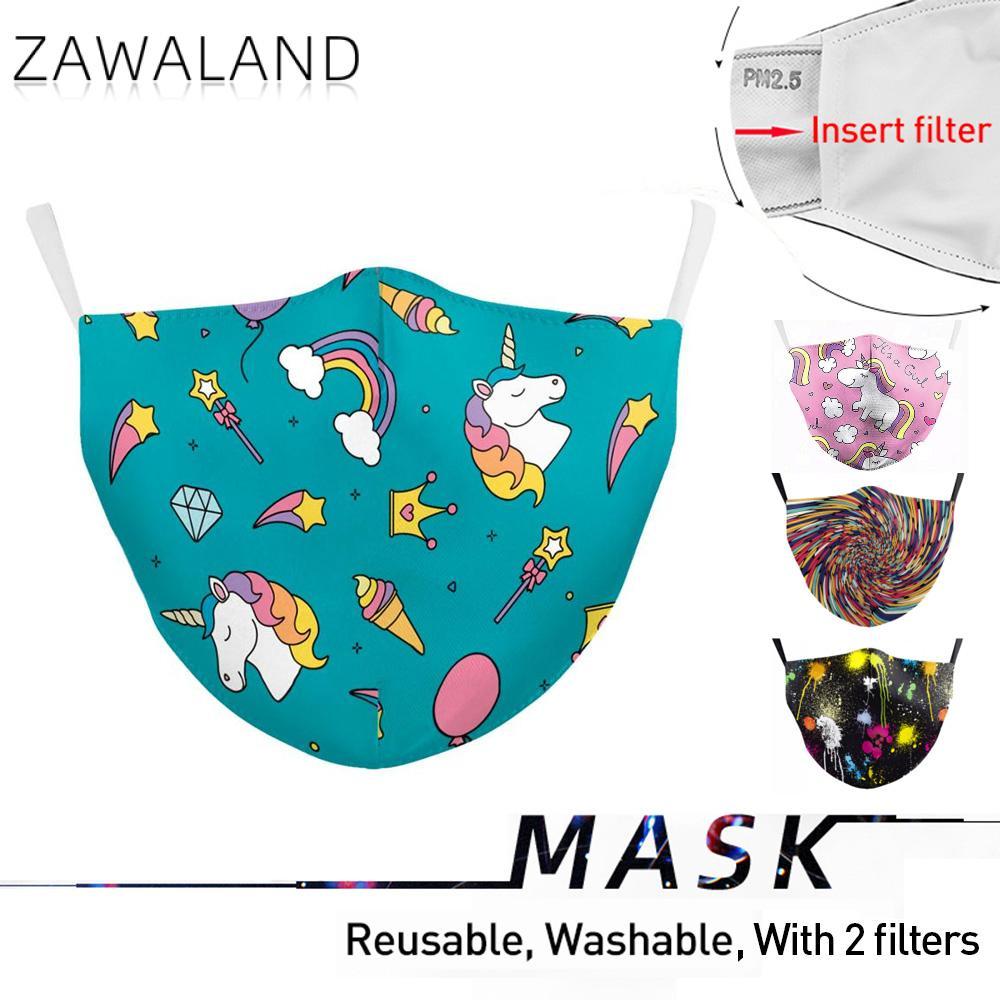 Zawaland Cute Cartoon Mask Unicorn Print Fabric Mouth Mask Protective PM2.5 Anti-haze Anti Pollution Mouth Masks Washable