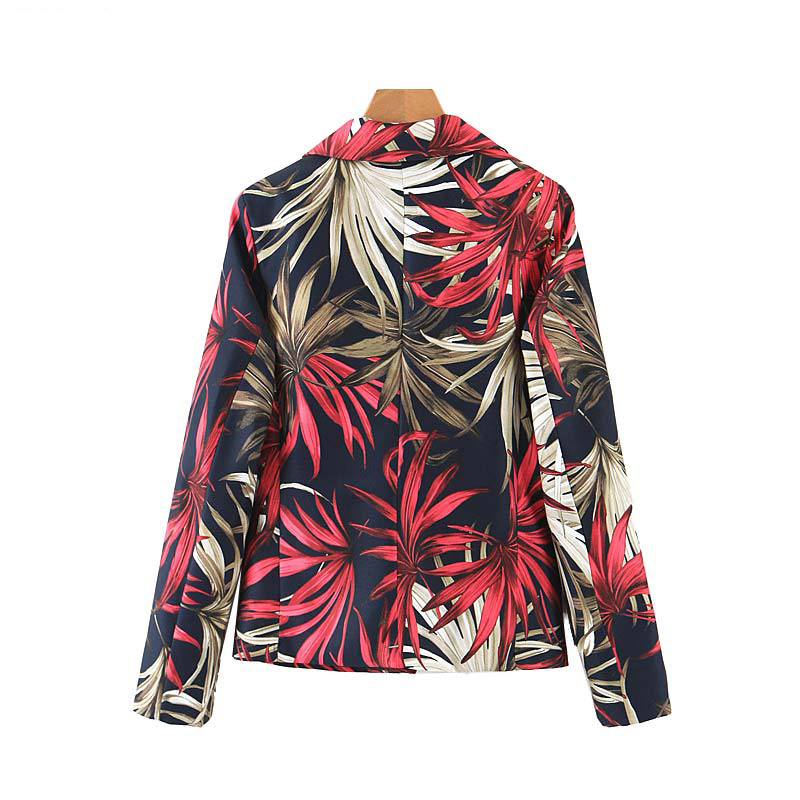 Women Blazers and Jackets 2019 New Stylish Floral Pattern Vintage Blazer Female Office Wear Coat Casual Lady Outwear Tops