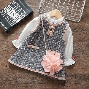 Комплект из жилета и платья для маленьких девочек на весну и осень, комплект из топа и платья с сумочкой на плечо с цветочным принтом, 2 шт./ко...